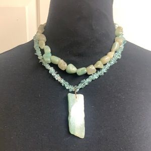 Handmade green stone necklace